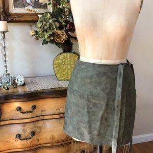 Mint vanilla faux leather wrap skirt